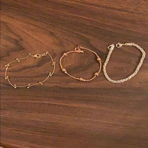 Set of 3 bracelets: Gold, Silver, Rose Gold